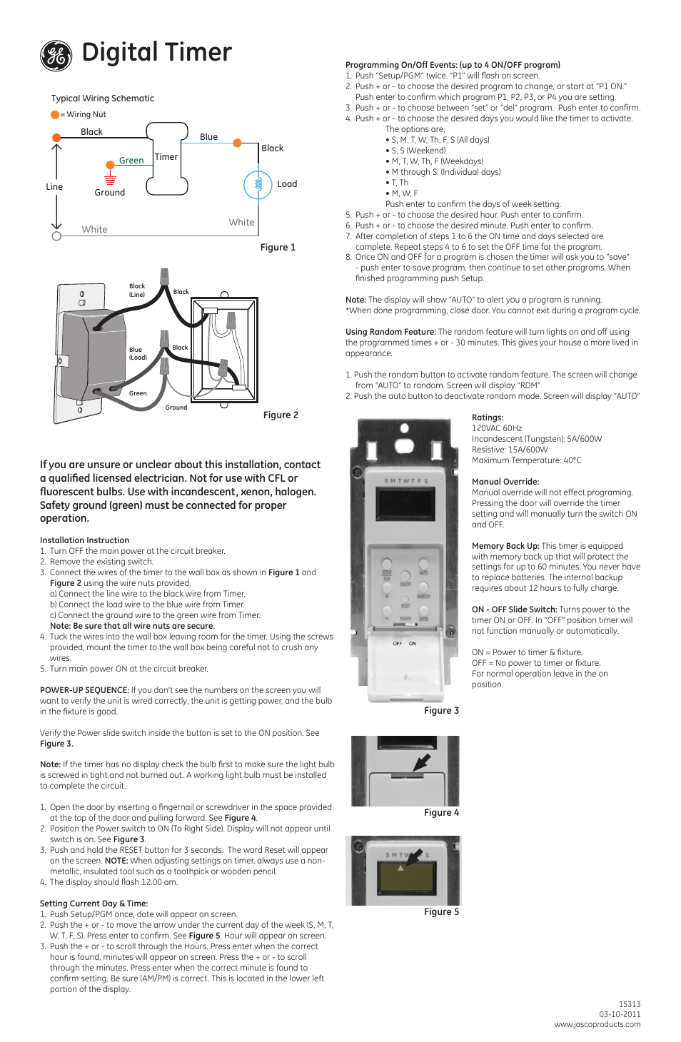 GE 15313 GE 7-Day In-Wall Digital Timer User Manual | 2 pagesManuals Directory