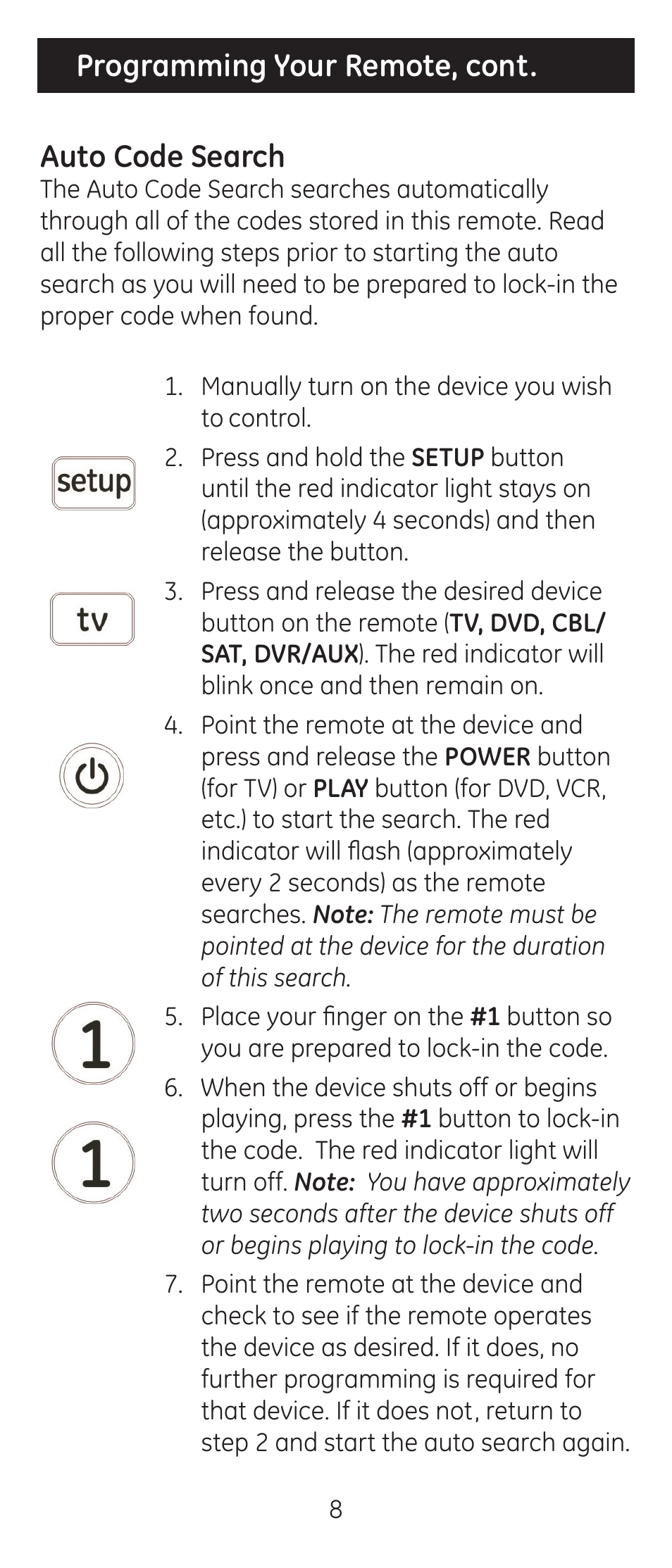 Programming your remote, cont  auto code search   GE 24929-v2