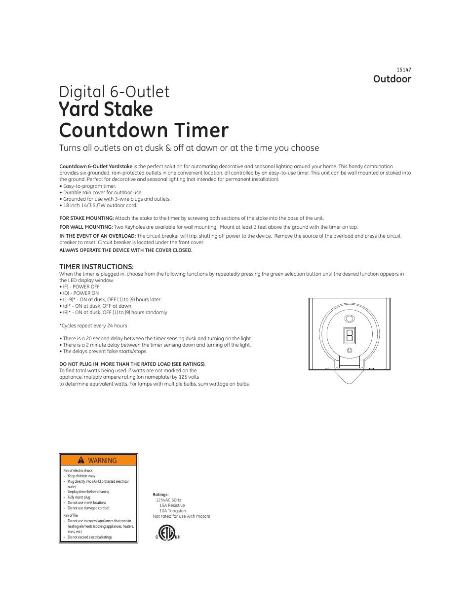 Ge 15147 Digital Yard Stake Timer User Manual 2 Pages