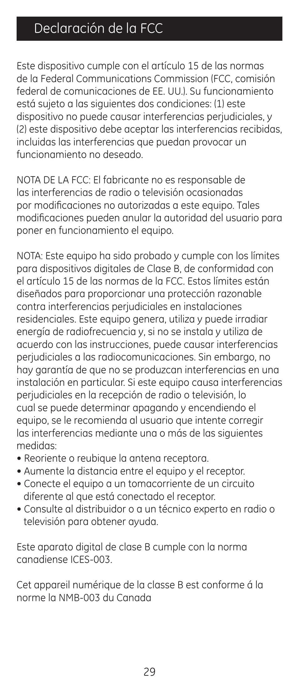 Declaración de la fcc | GE 24912-v2 GE Universal Remote User Manual | Page