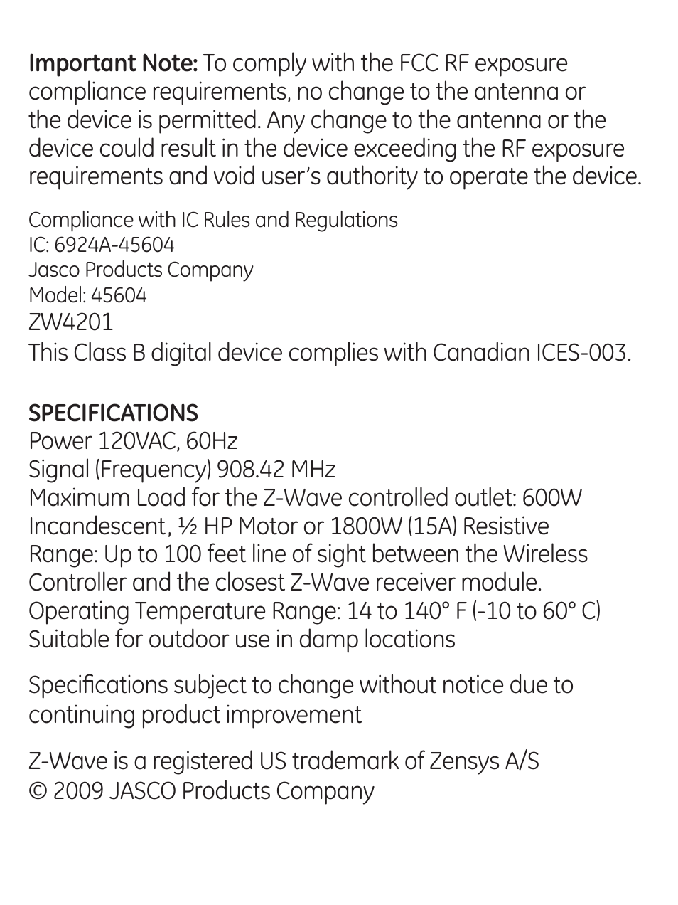 GE 45604 GE Z Wave Outdoor Module User Manual Page 13 14