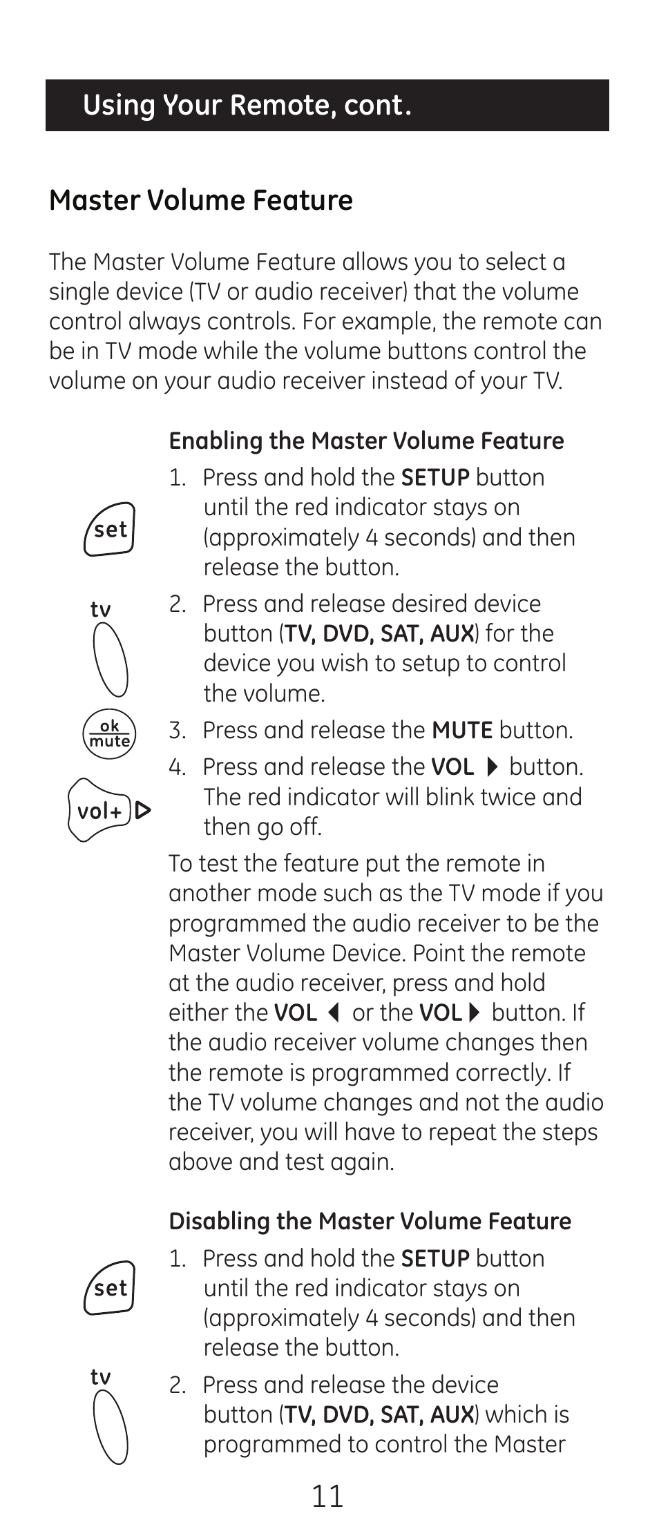 ge 24993 v2 ge universal remote control user manual page 11 44 rh manualsdir com GE Universal Remote Programming Guide GE Universal Remote Instruction Manual