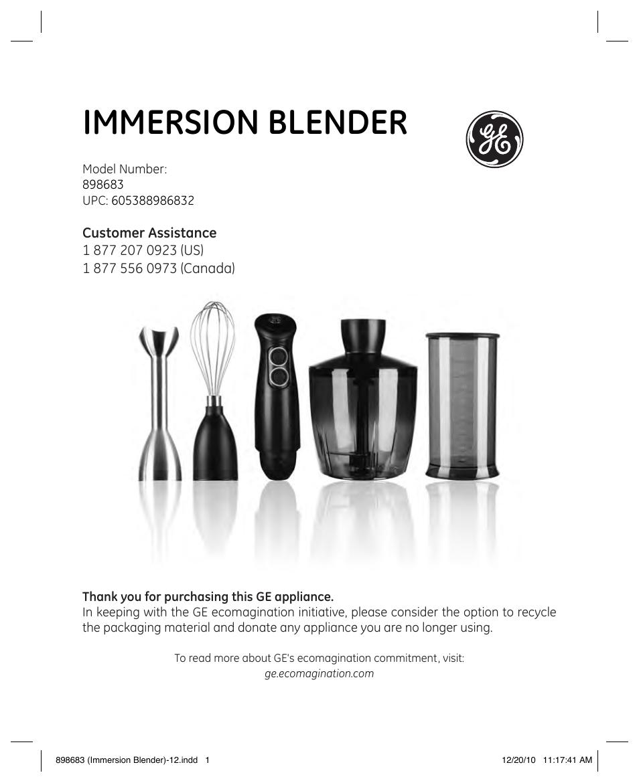 Ge Hand Blender ~ Ge user manual pages