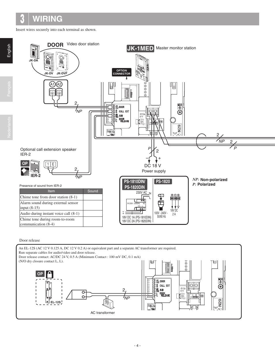 aiphone wire diagram lawn tractor ign switch wire diagram five wire wiring, jk-1hd, jk-1med | aiphone jk-1med user manual ...