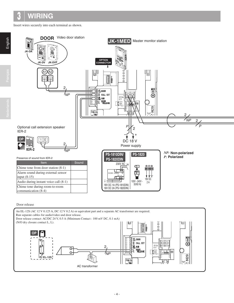 wiring jk 1hd jk 1med aiphone jk 1med user manual. Black Bedroom Furniture Sets. Home Design Ideas