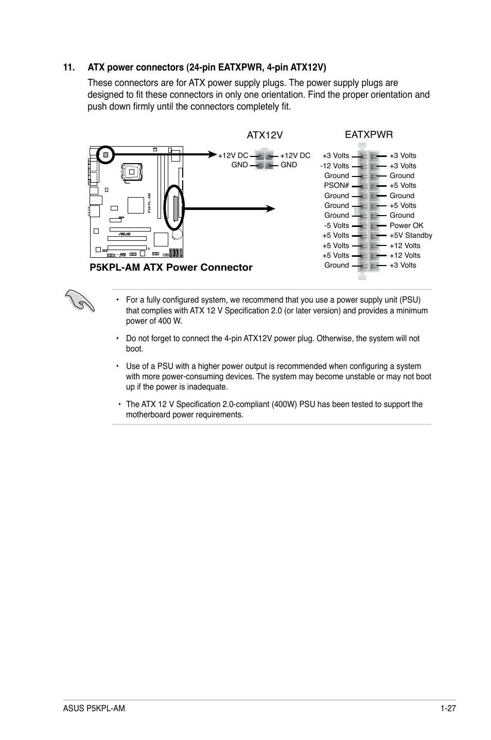 P5kpl Am Atx Power Connector Eatxpwr Atx12v Asus Ps User 5 Volt Circuit Diagram Manual Page 37 62