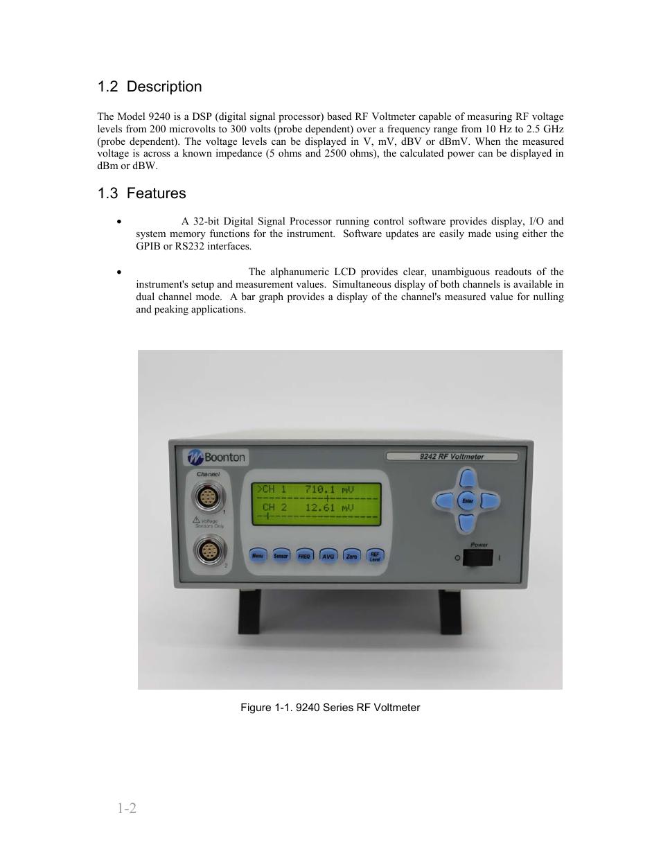 2 Description 3 Features Boonton 9240 Rf Millivoltmeter Voltmeter User Manual Page 12 100