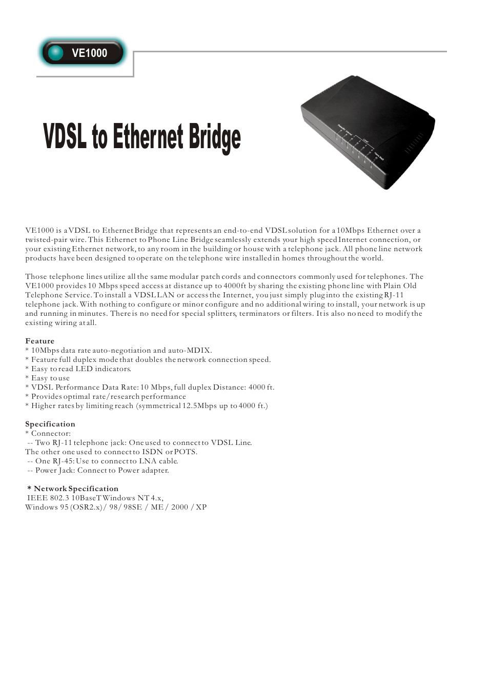 Abocom Vdsl To Ethernet Bridge Ve1000 User Manual 1 Page Using House Wiring For