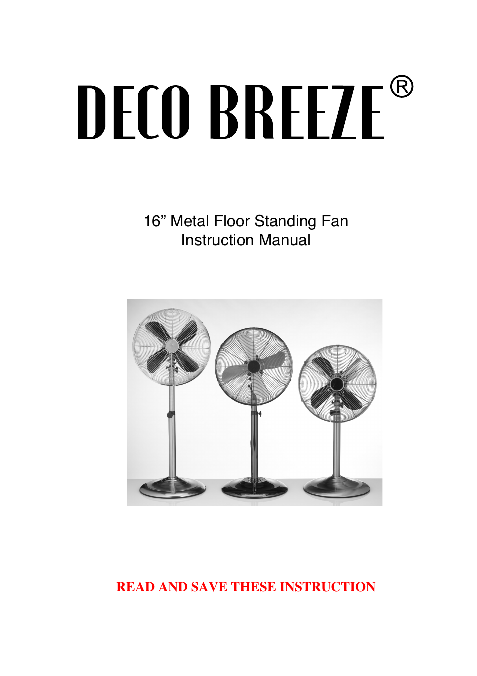 Deco Breeze Adjustable Height Floor Fan User Manual 15 Pages