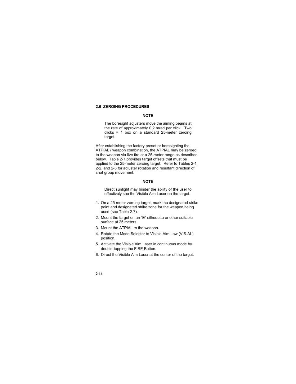 6 Zeroing Procedures 6 Zeroing Procedures 14 Eotech Atpial An