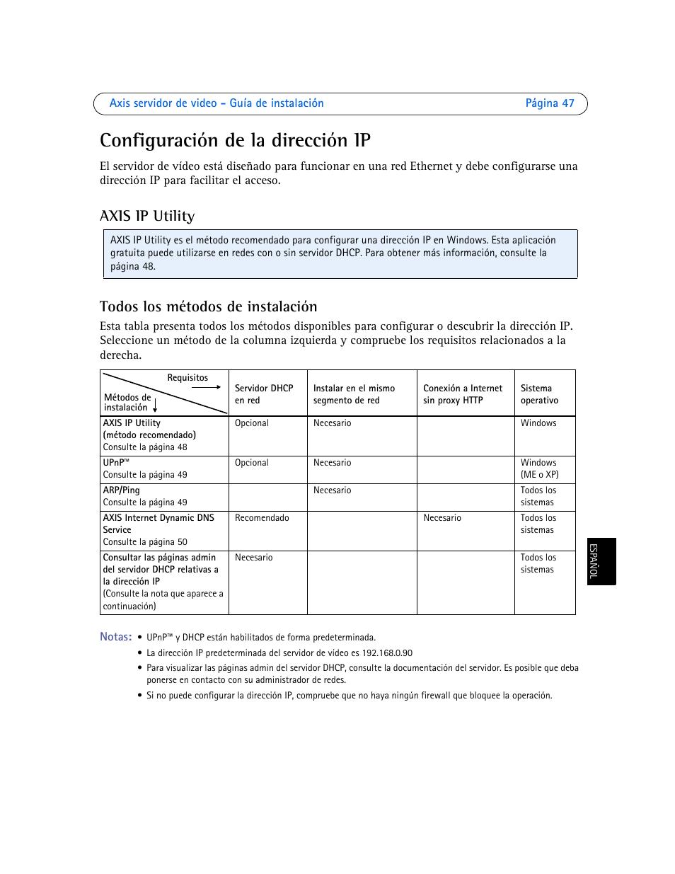 Configuración de la dirección ip, Axis ip utility todos los