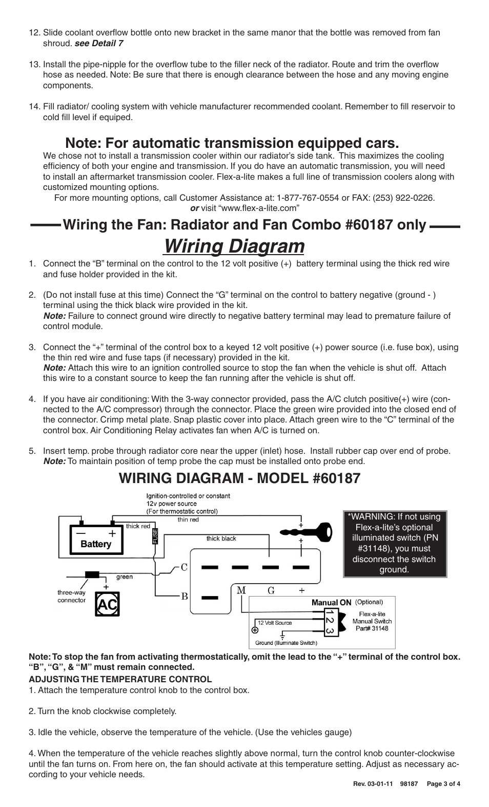Wiring Diagram Flex A Lite 60087 Wrangler Radiator Kit Fits 1987 Jeep Engine Coolant Overflow Hose 2006 Wranglers User Manual Page 3 4