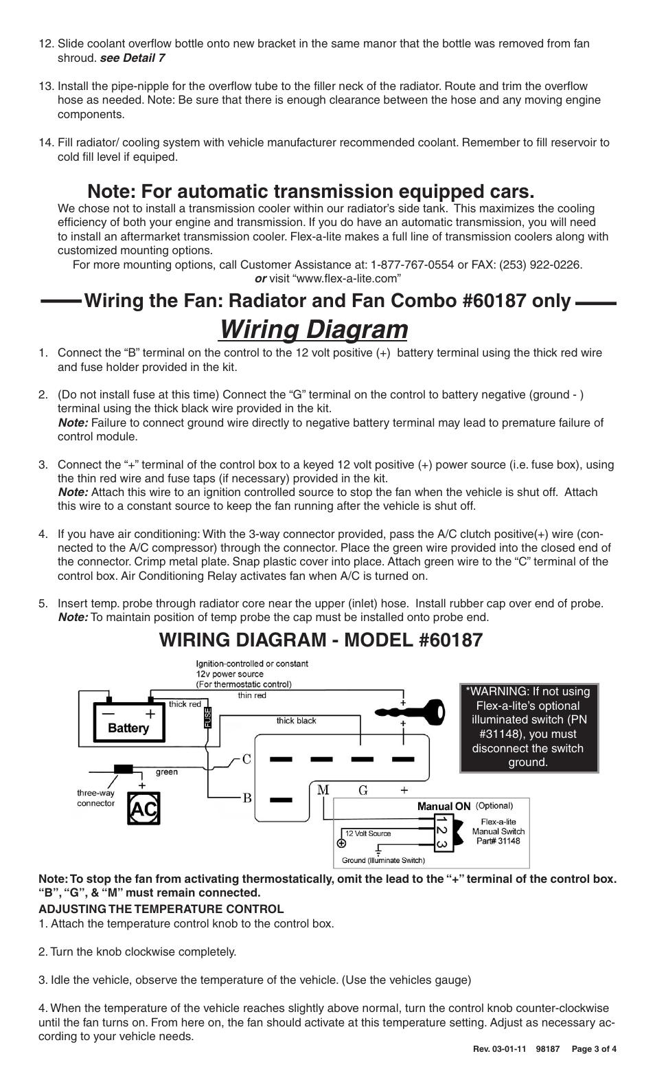 Wiring diagram | Flex-a-Lite 60087 Wrangler Radiator Kit ... on