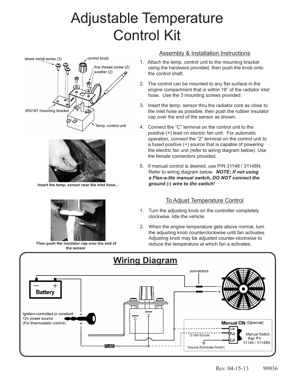 Flex-a-Lite 31147 Adjustable Temperature Control Kit User Manual   1 page   Adjustable Radiator Fan Wiring Diagram Fan Control A Flex      Manuals Directory