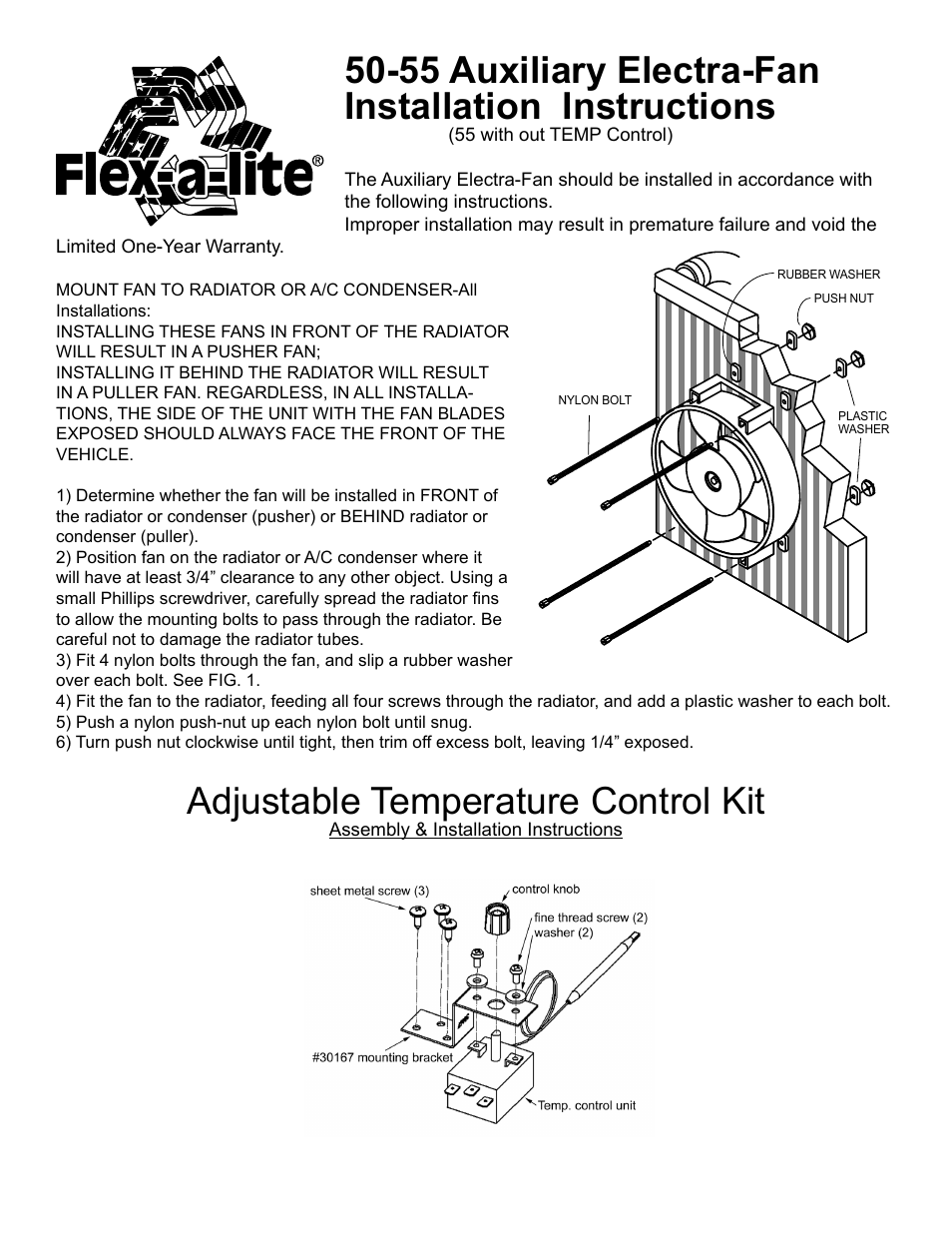 Flex-a-Lite 55 Auxiliary Electra-Fan User Manual | 2 pages | Also for: 50  Auxiliary Electra-Fan