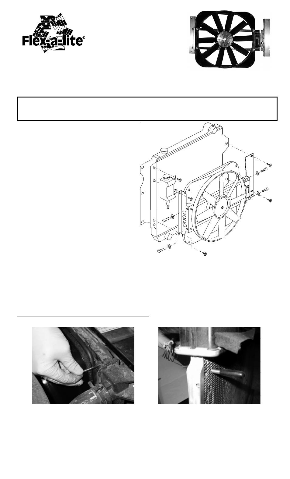 flex a lite 475 jeep wrangler fan ii nylon shroud user manual 2