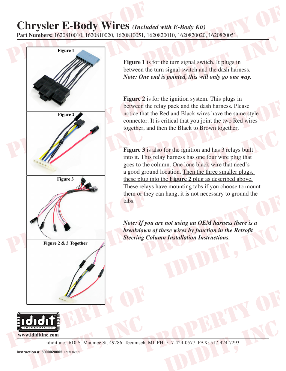 ididit Retrofit Steering Column: 1970-74 Cuda/Challenger Ignition Switch  User Manual | 1 page