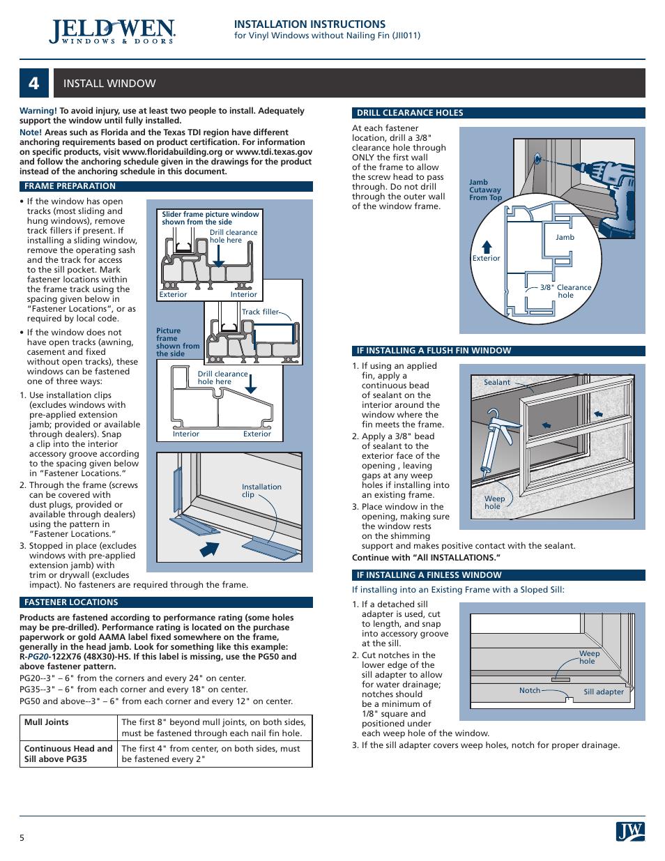 Jeld Wen Jii011 Vinyl Windows Without Nailing Fin User Manual Page 5 7