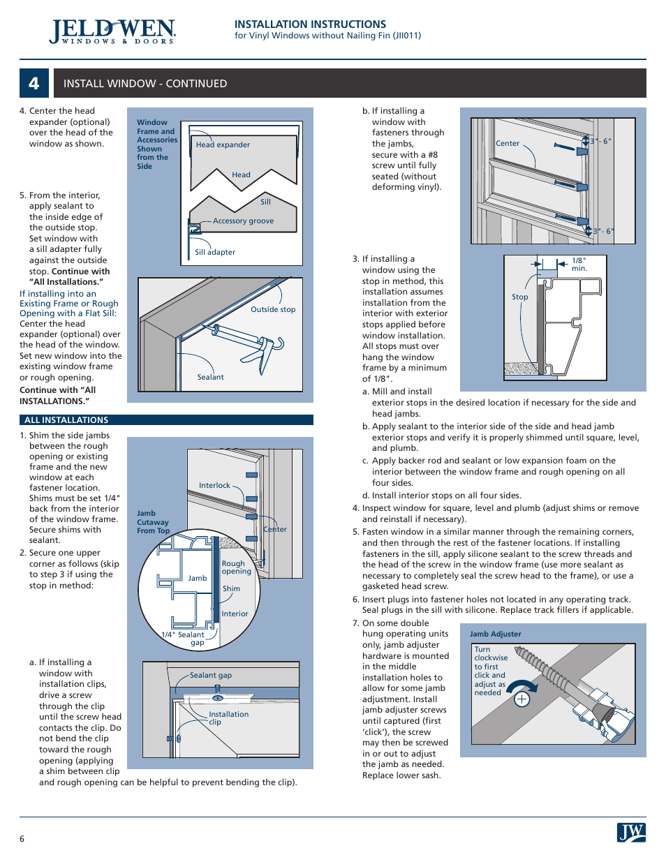 Installation Instructions Install Window Continued Jeld Wen Jii011 Vinyl Windows Without Nailing Fin User Manual Page 6 7