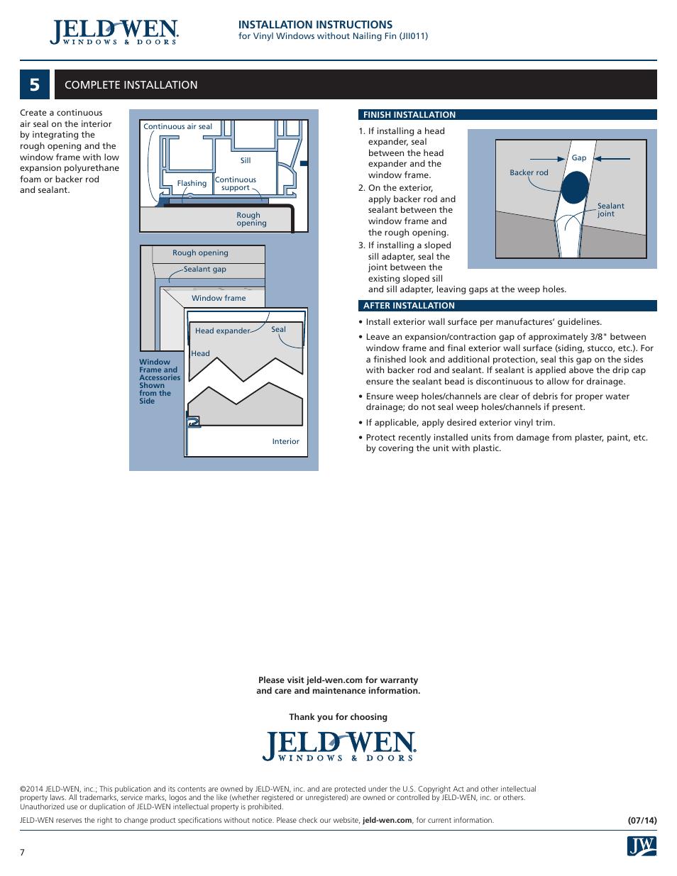 Installation instructions, Complete installation   JELD-WEN