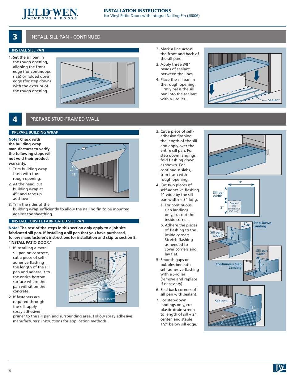 Jeld wen patio doors installation instructions for Buy jeld wen windows online