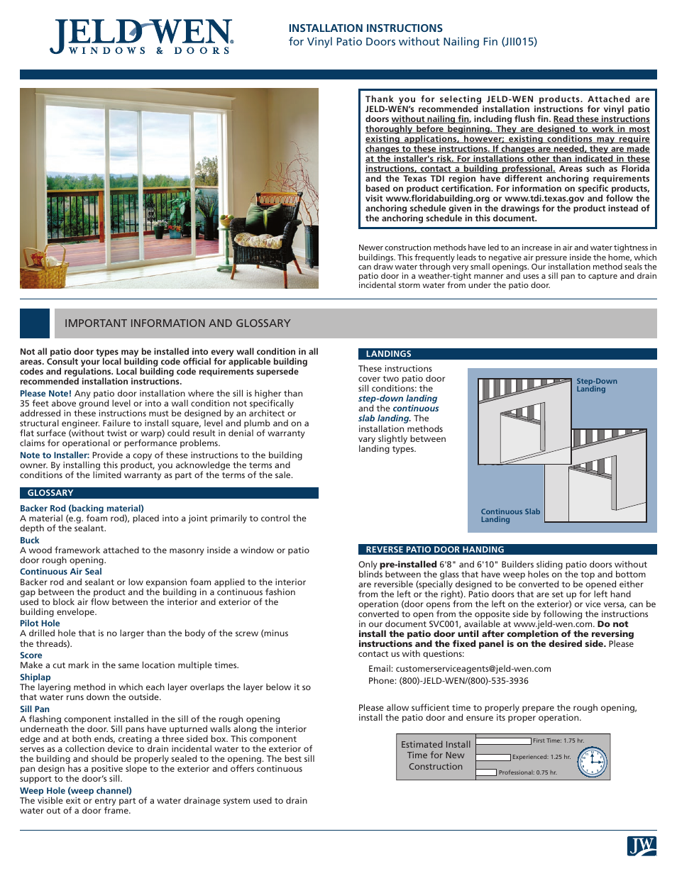 JELD WEN JII015 Vinyl Patio Doors Without Nailing Fin User Manual | 9 Pages