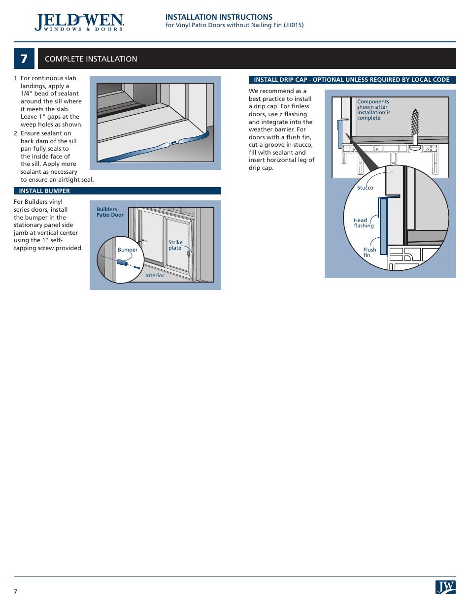 Jeld Wen Jii015 Vinyl Patio Doors Without Nailing Fin User Manual