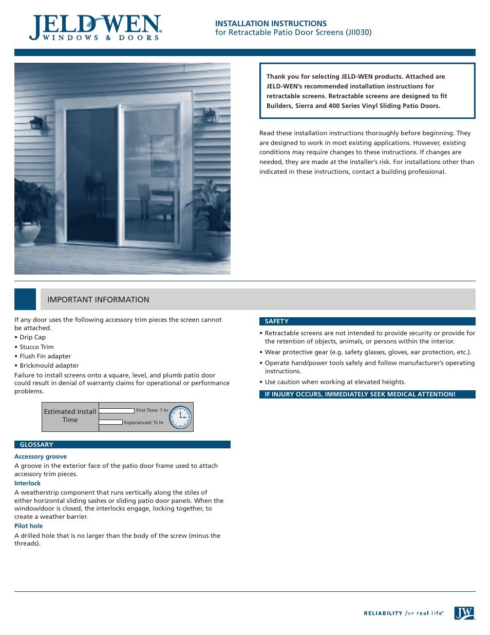 Jeld Wen Jii030 Retractable Patio Door Screens User Manual 4 Pages