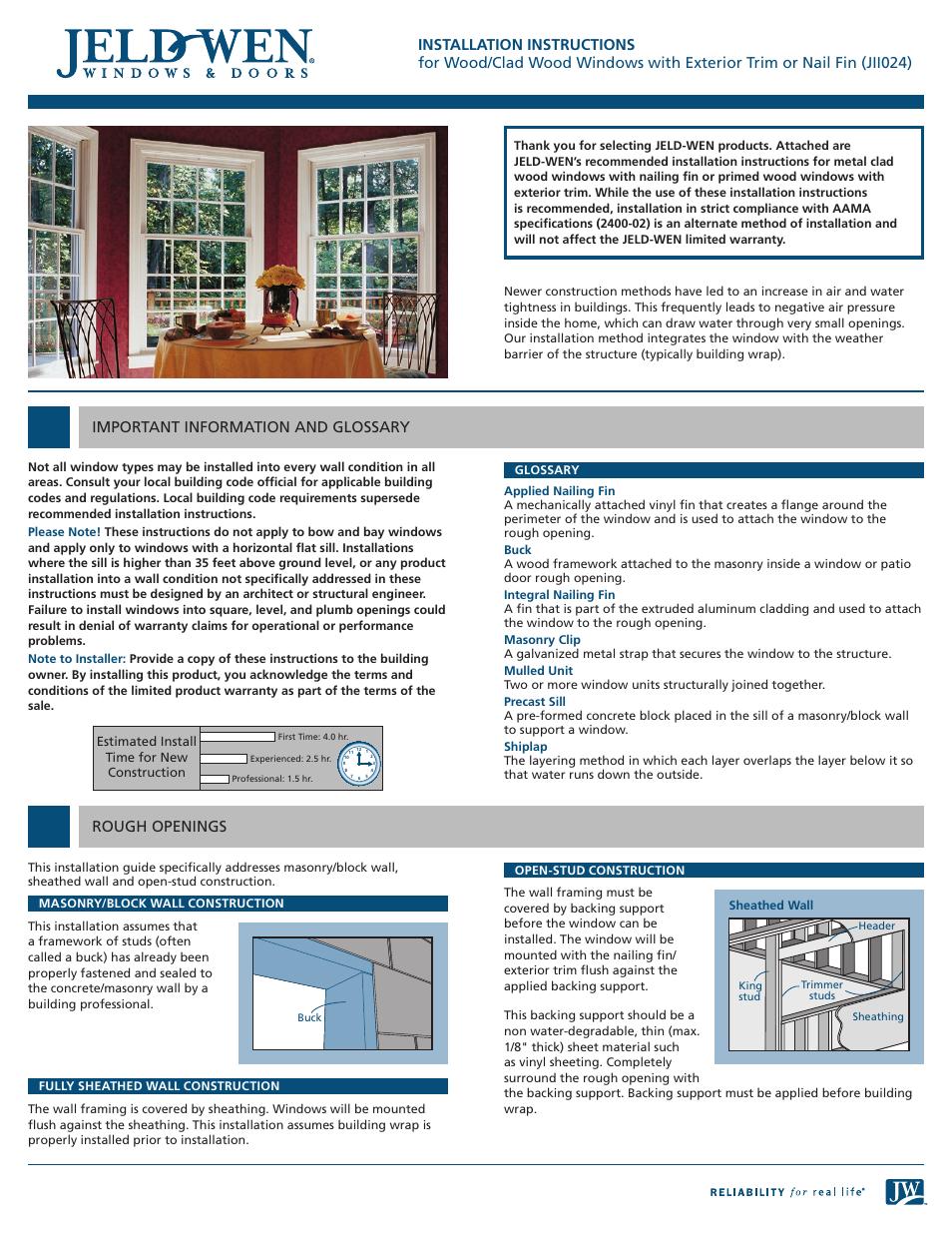 JELD-WEN JII024 Wood/Clad Wood Windows with Exterior Trim or