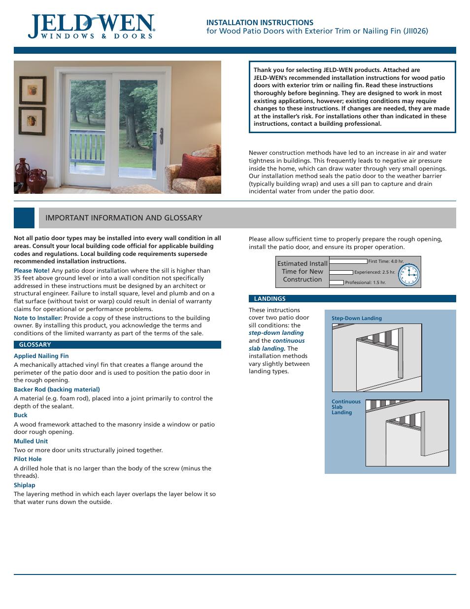 sliding door company installation instructions