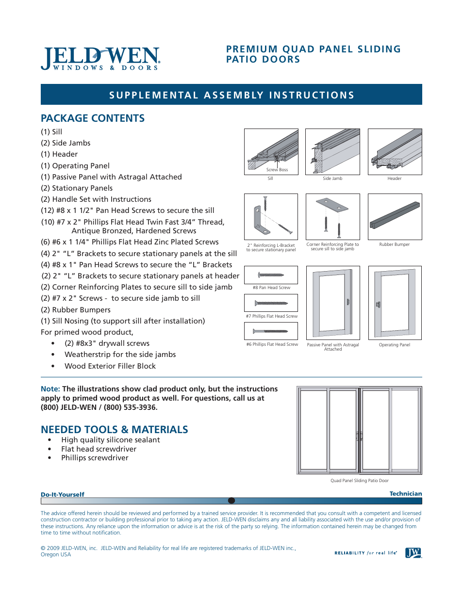 JELD WEN NDS002 Premium Quad Panel Sliding Patio Doors User Manual | 3 Pages