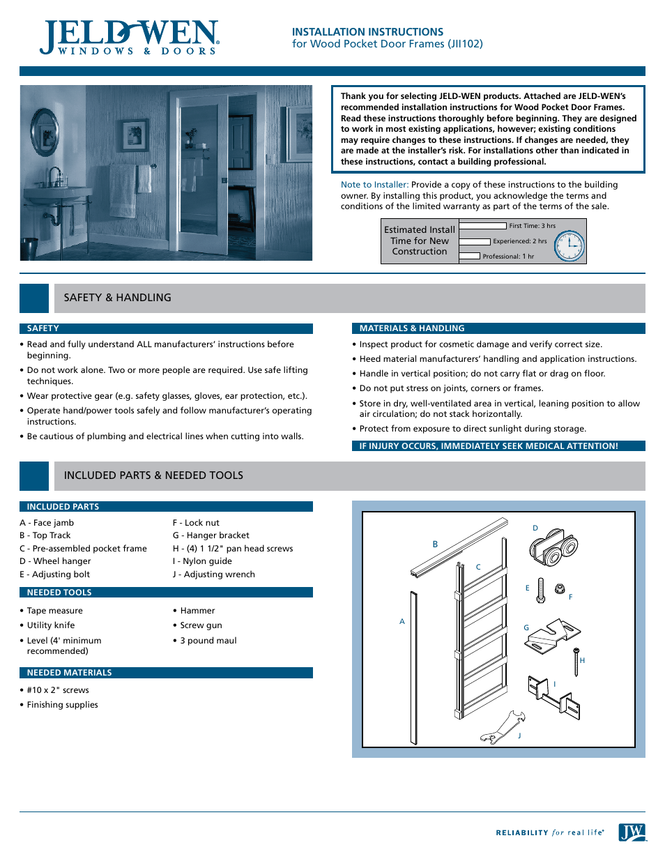 Jeld Wen Jii102 Wood Pocket Door Frames User Manual 2 Pages