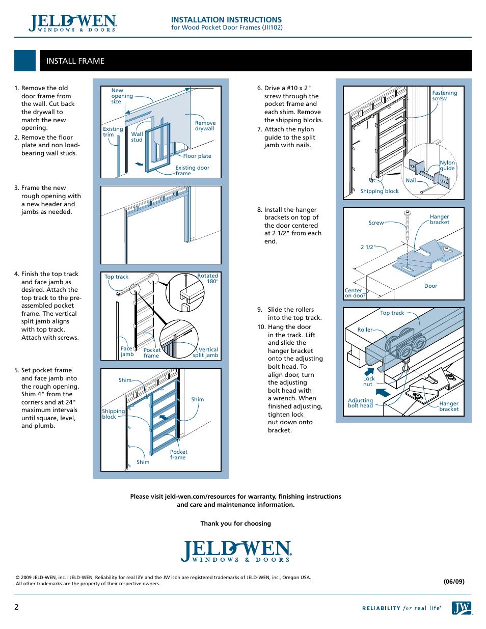 Installation instructions, Install frame | JELD-WEN JII102 Wood ...