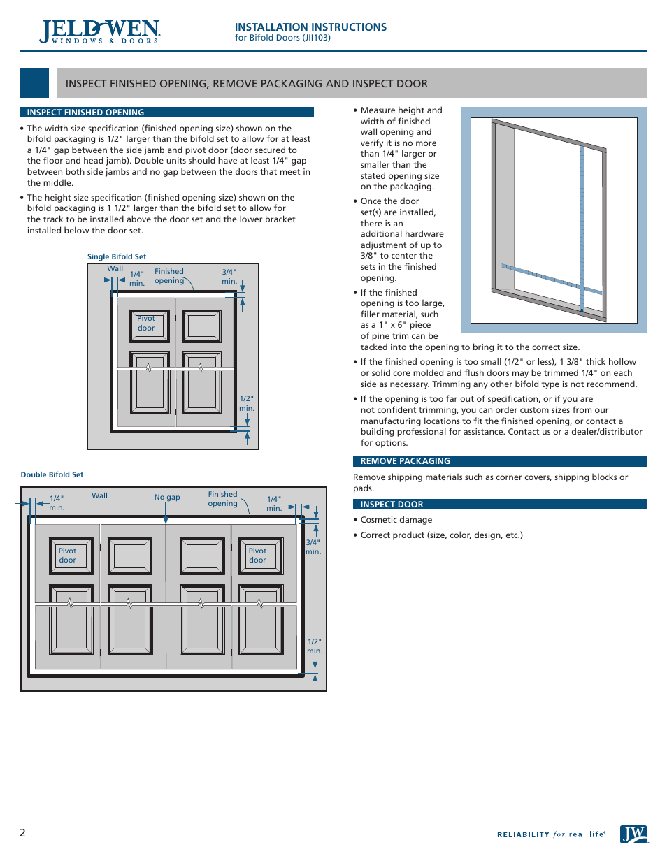 Installation Instructions Jeld Wen Jii103 Bifold Doors