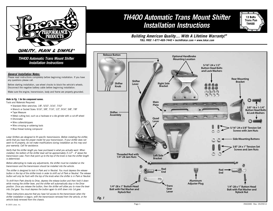 Lokar Automatic Trans Mount Shifter Th400 User Manual