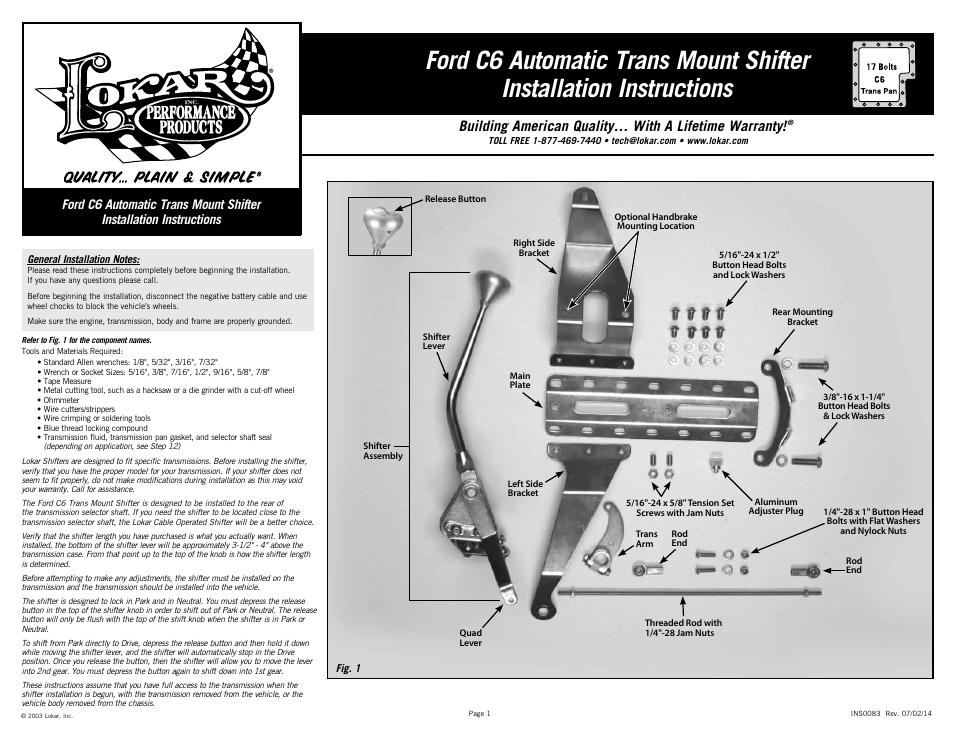 Lokar Automatic Trans Mount Shifter Ford C6 User Manual