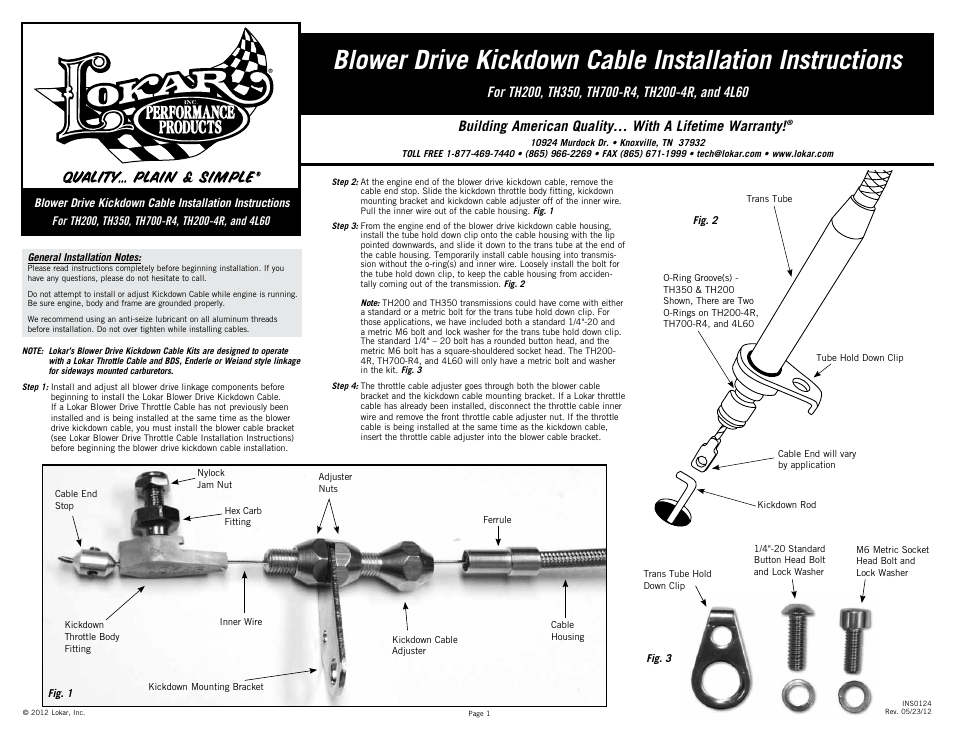 Lokar Blower Drive Kickdown Cable User Manual | 2 pages