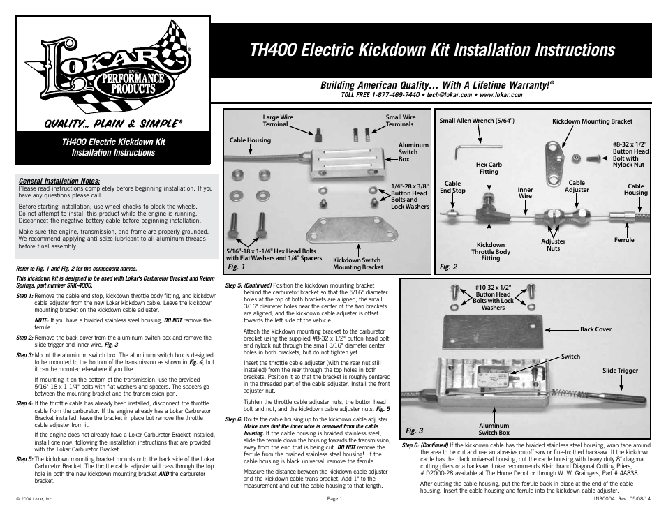 Lokar Electric Kickdown Kit Th400 User Manual
