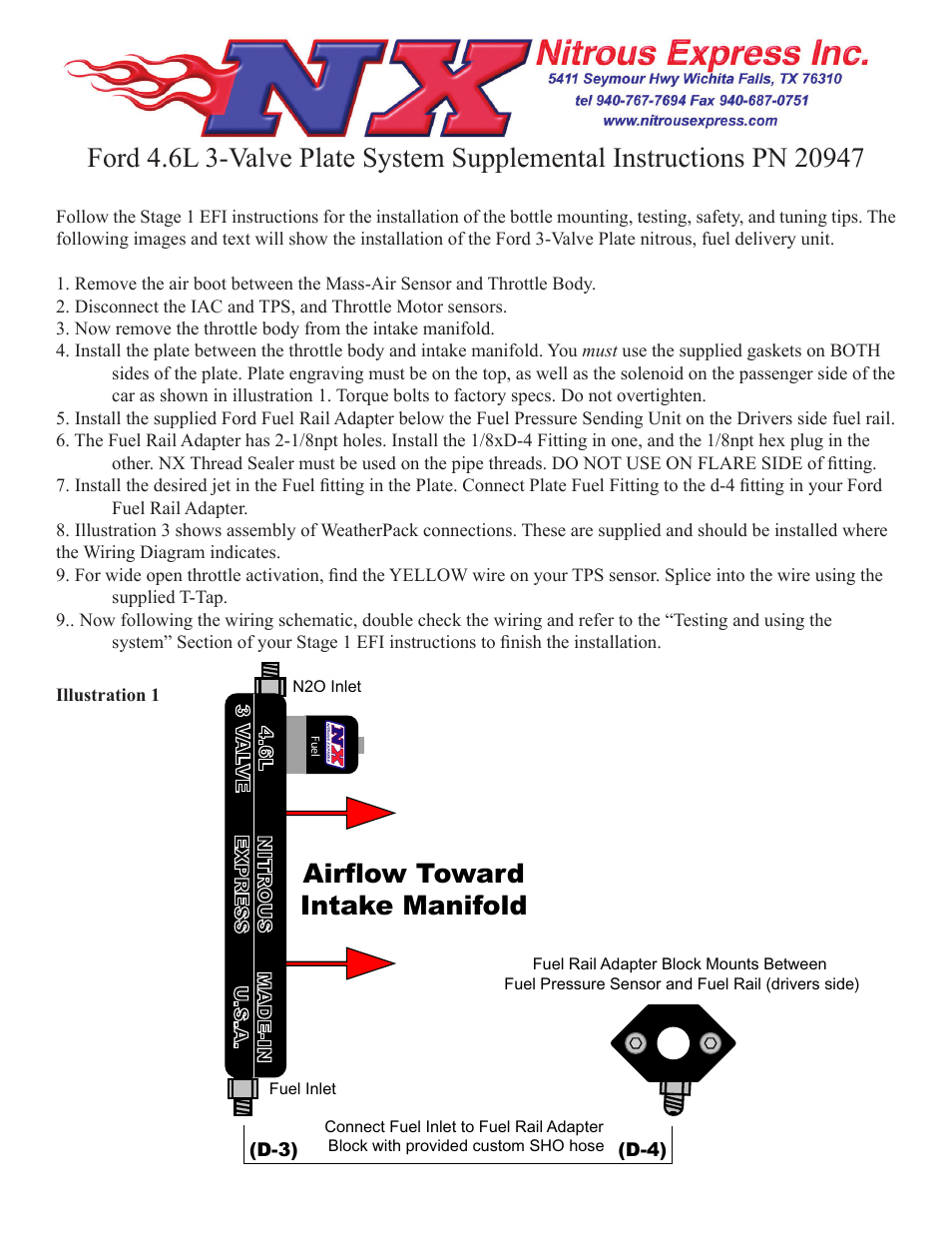 Nitrous Express Ford 46l 3 Valve Plate System 20947 User Manual Wiring Diagram 4 Pages