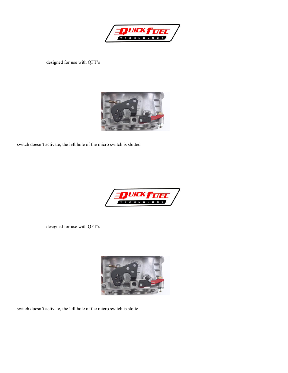 Quick Fuel Technology 600 2 Wide Open Throttle Switch User Manual Closed Series Circuit 1 Page