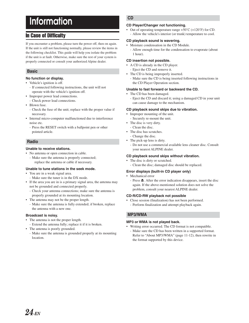 Troubleshooting, Information | Alpine CDA-9847 User Manual | Page 25 / 34