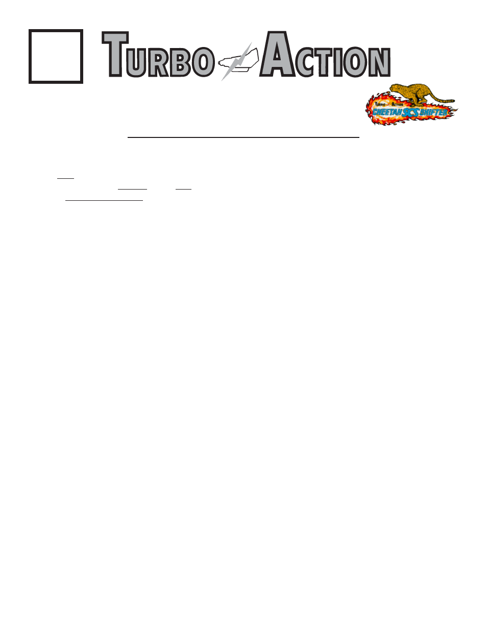 Turbo Action 70012 Cheetah Scs Shifter User Manual 8 Pages