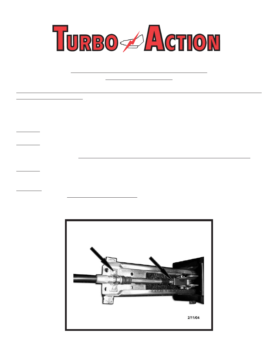 Turbo Action Cheetah Scs Shifter Cable Adjustment User Manual 2 Pages