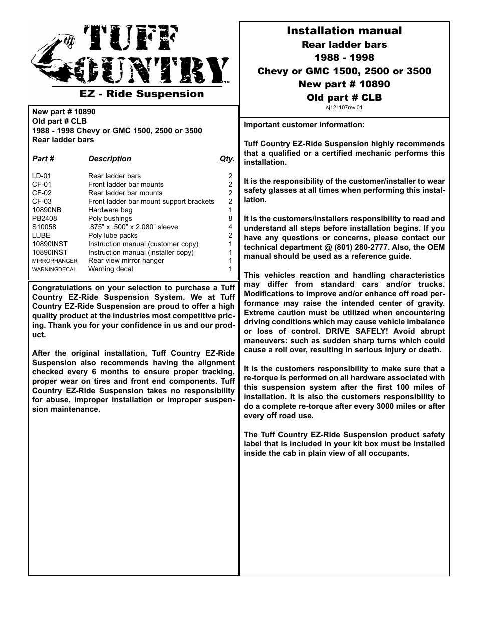 tuff country 10890 gm 88 98 ladder bars user manual 4 pages rh manualsdir com Gutter Installation Guide Garage Door Installation Manual