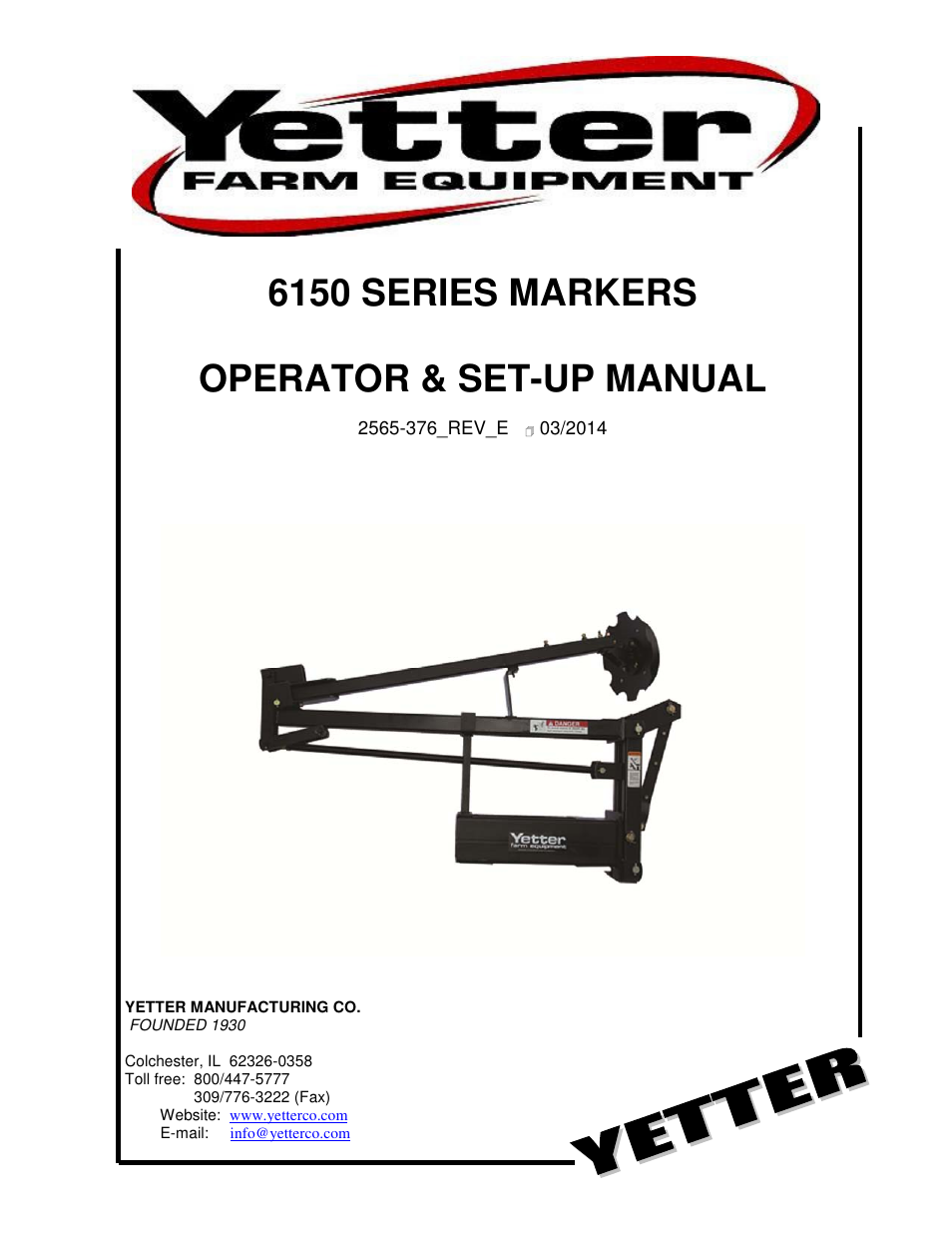 Yetter 6150 Series Markers User Manual | 52 pages