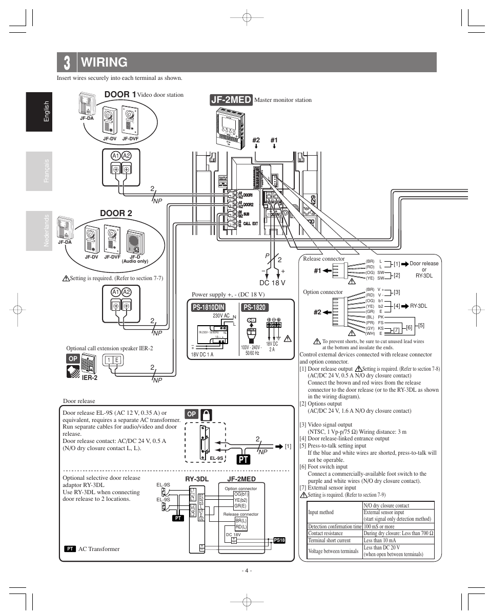 Wiring Jf 2med Door 2 Aiphone User Manual Page 4 16 Diagram