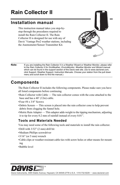 davis vantage pro2 rain collector ii user manual 8 pages rh manualsdir com Davis Instruments Catalog Davis Instruments Inc