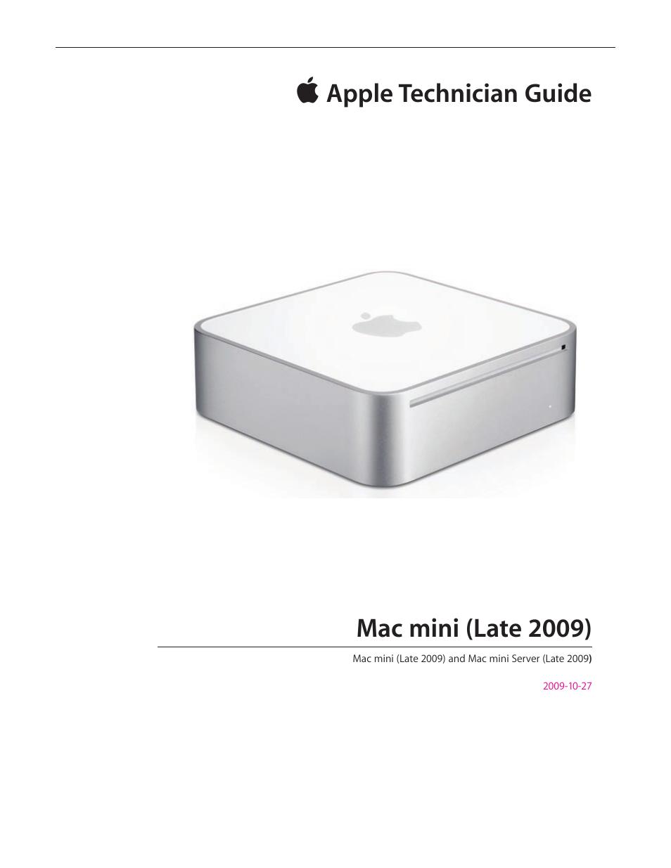 apple mac mini late 2009 technician guide user manual 148 pages rh manualsdir com mac mini server configuration mac mini server vpn configuration