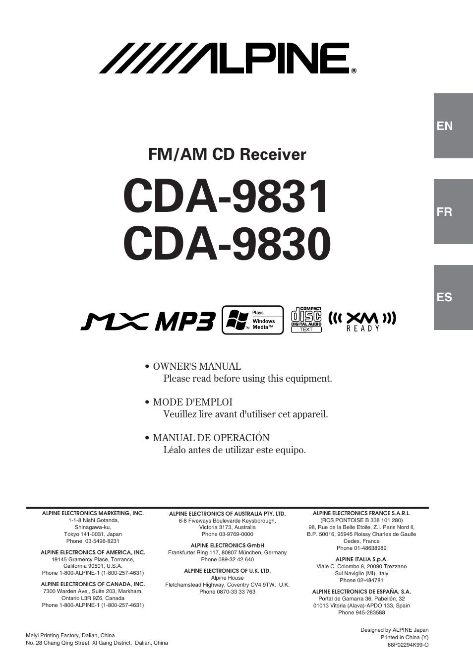 alpine cda 9831 user manual 42 pages original mode rh manualsdir com  alpine cda 9831 owners manual