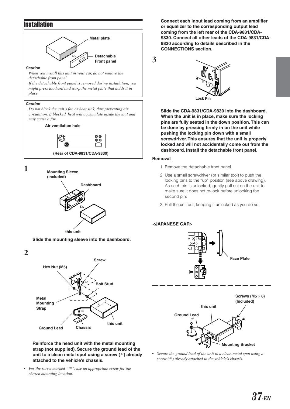 installation alpine cda 9831 user manual page 39 42 original rh manualsdir com Alpine CDA 9853 Manual Alpine CDA 9853 Manual